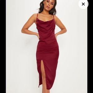 Burgundy Strappy Satin Cowl Midi Dress